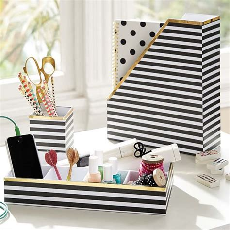 Printed Desk Accessories Black White Stripe With Gold Black And White Desk Accessories