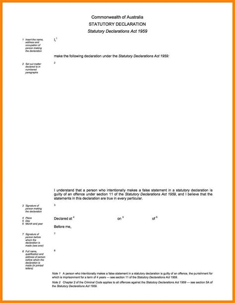 statutory declaration template name change statutory declarations template resume