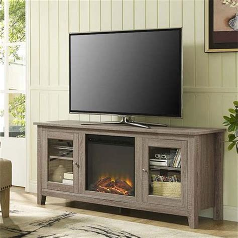 60 Inch Tv Fireplace by Walker Edison 60 Inch Tv Stand With Electric Fireplace Ash Grey W58fp4dwag