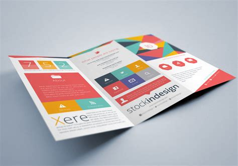 Flat Trifold Brochure Stockindesign Tri Fold Flyer Template Indesign