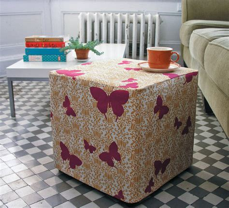 Diy Ottoman Cover Weekend Project Slipcover A Thrifted Cube 187 Curbly Diy Design Decor