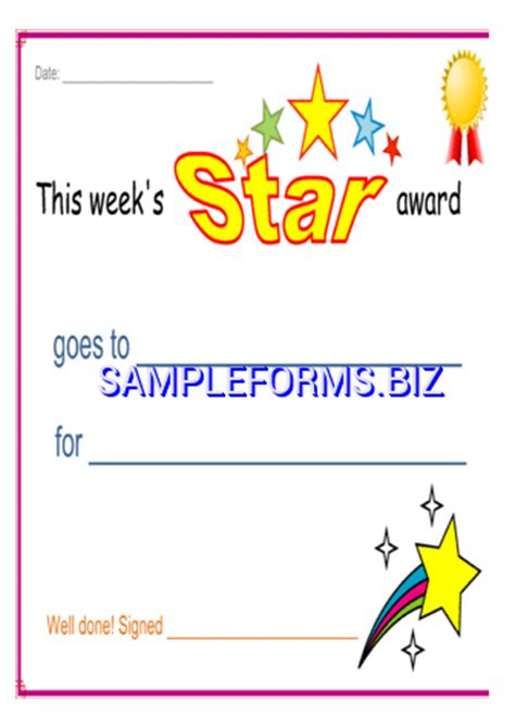printable star award certificates star award certificate docx pdf free 2 pages