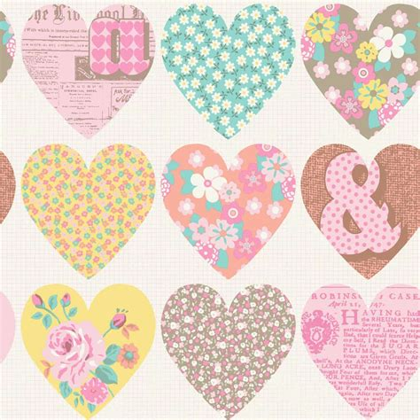 Patchwork Hearts - patchwork hearts pastel arthouse