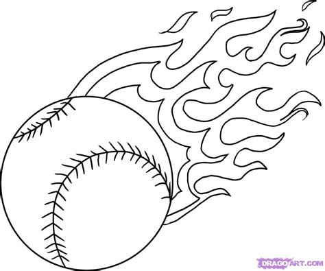 coloring pages of cool stuff baseball flaming baseball cool get this coloring page