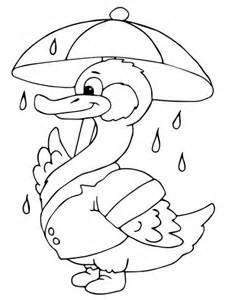 duck in the rain colouring page kindergarten pin duck with umbrella under the rain coloring page super