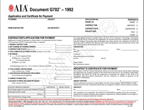 G702 1992 Application And Certificate For Payment Aia Bookstore Aia Contract Template