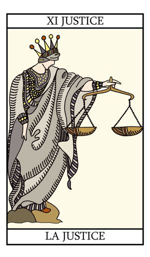 Justice Gift Card Online - justice tarot card illustration on tarot lovers com