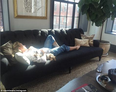 the couch film naomi watts crashes out on sofa with her pooch after back