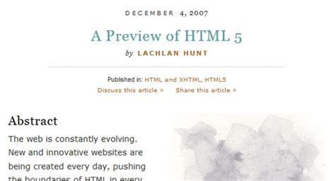 a list appart excellent resources to learn html5