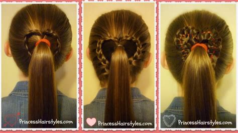 cute girl hairstyles queen of hearts 3 heart ponytails valentine s hairstyles youtube