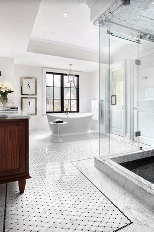 black white bathroom tile knowledgebase traditional master bathroom with carrara white 2 inch