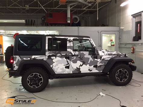 camo jeep jeep rubicon winter camo wrap vehicle customization shop