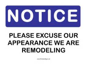 printable notice remodeling sign