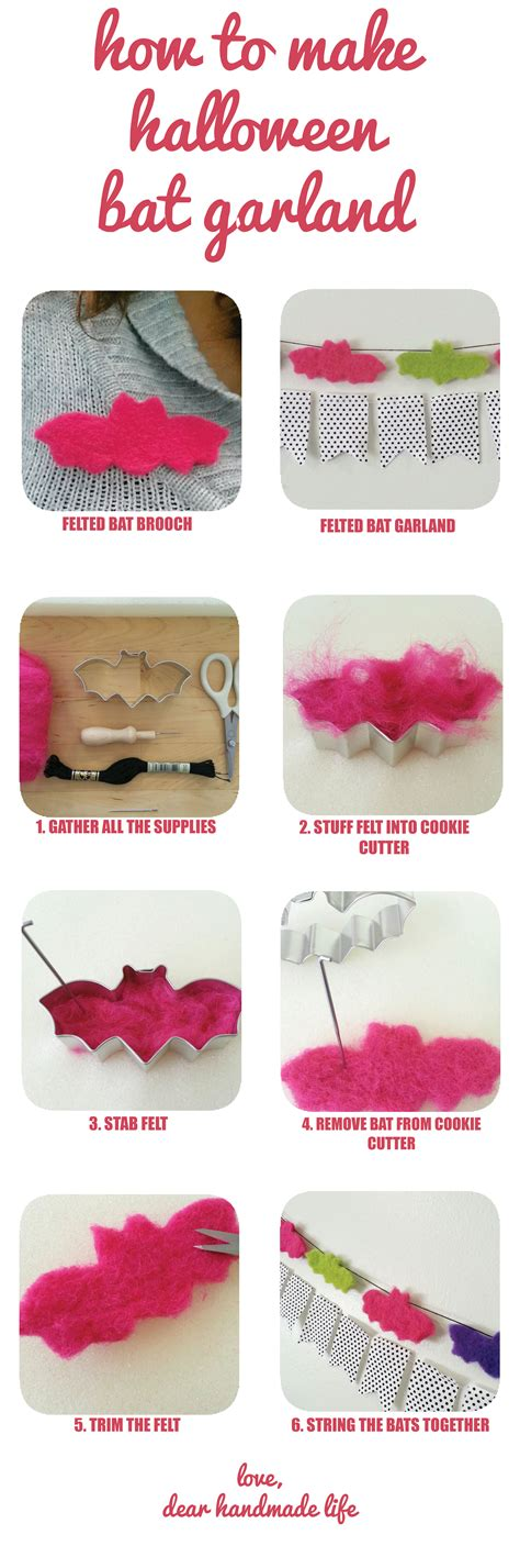 Handmade Crafts Tutorials - how to make diy bat garland dear handmade
