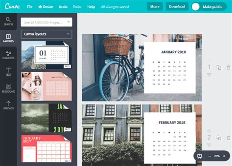 design calendar canva 5 online photo calendar maker websites free