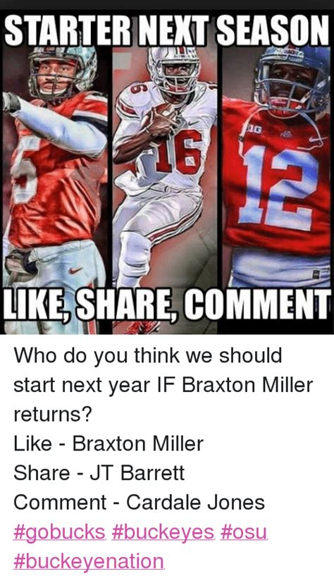 Braxton Miller Meme - starter next season aig like share comment who do you