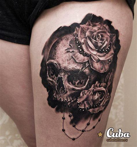 skull and rose tattoo on thigh thigh with skull flower design golfian