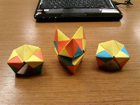 Origami Hedron - modular origami how to make a cube octahedron