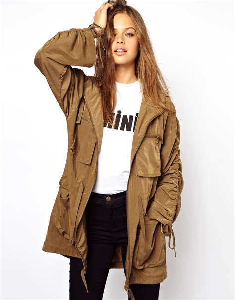 Asos Parka by Lyst Asos Asos Washed Drape Parka In Brown