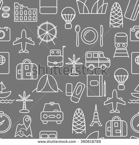 seamless pattern app thin line icons seamless pattern travel stock vector