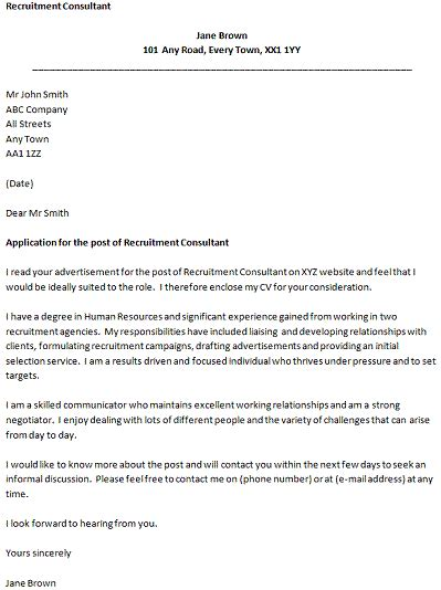 cover letter for a recruitment consultant icover org uk