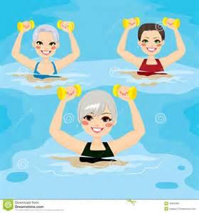 Small group of senior women making aqua gym exercises with dumbbells