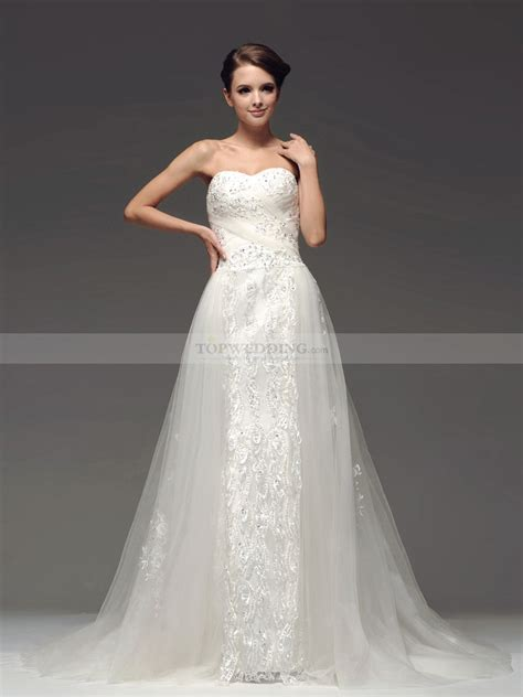sweetheart tulle a line wedding dress with sequined skirt