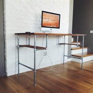 furniture brown varnished wooden computer desk with chrome