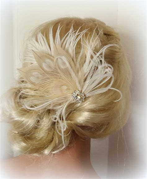 Wedding Hair Accessories With Feathers chagne ivory feather fascinator wedding hair accessories