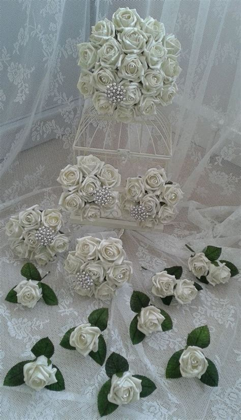 Wedding Posies by Wedding Flowers Set Brides Bouquet 4 Bridesmaids Posies 6