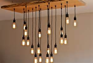 Hanging Light Bulb Chandelier Large Live Edge Maple Chandelier With Edison Bulbs