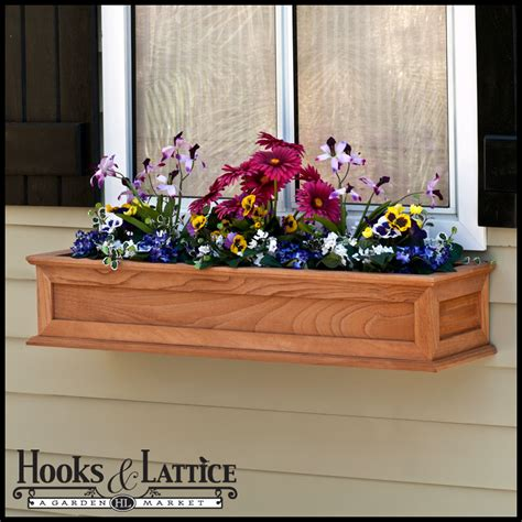 raised panel cedar framed window boxes hooks lattice - Cedar Window Box