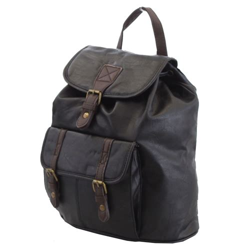 Faux Leather Backpack womens vintage faux leather backpack rucksack
