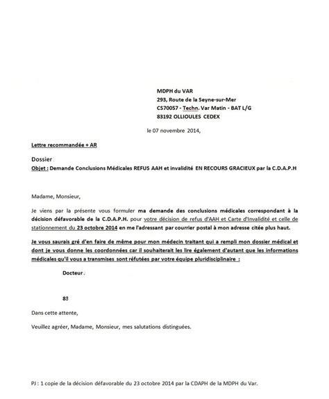 Lettre Type De Recours Pour Refus De Visa Lettre De Demande Conclusions M 233 Dicales Apr 232 S De Recours Gracieux Refus Aah 224 La Mdph Du Var