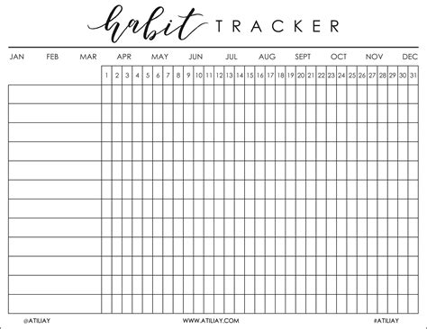 monthly habit tracker printable instant download pdf free printable habit tracker bullet journal pinterest
