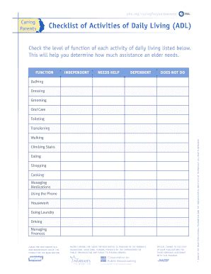 Activities Living Fill Online Printable Fillable Blank Pdffiller Caregiver Daily Checklist Template