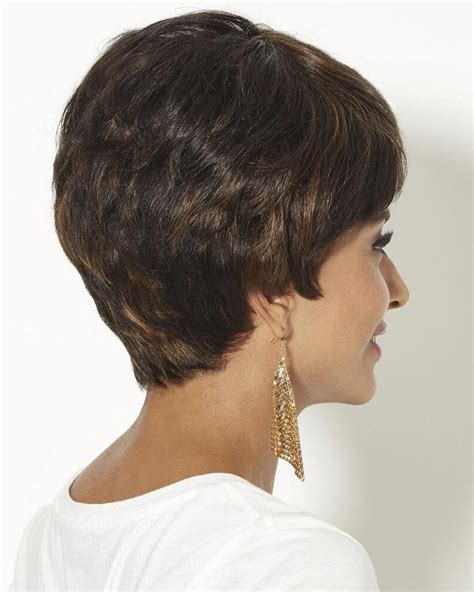 back of wigs human hair pixie wigs with short wavy layers and a tapered