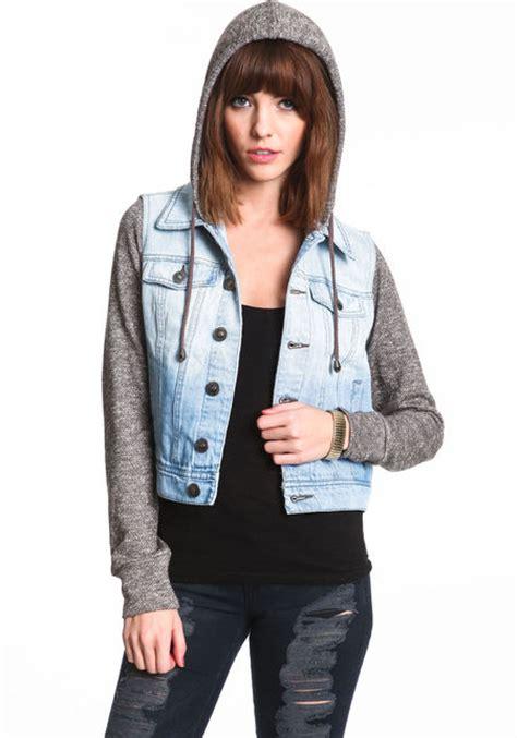 knit hooded denim jacket hooded knit denim jacket culture