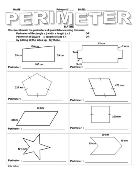 Perimeter Of Irregular Shapes Worksheets
