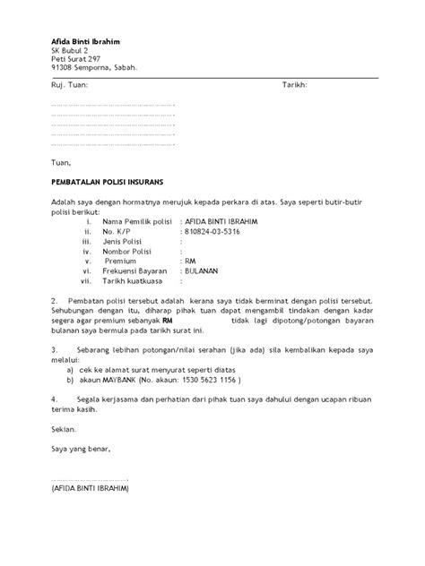 contoh surat berhenti insurans prudential 28 images contoh surat