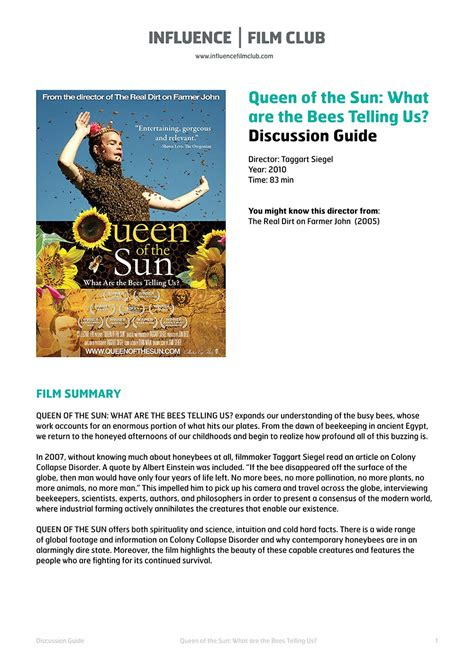 film queen of the sun queen of the sun influence film club