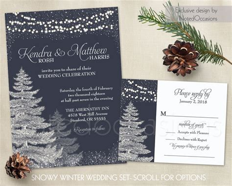 Winter Wedding Invitation Template Set Rustic Christmas Winter Wedding Invitation Templates