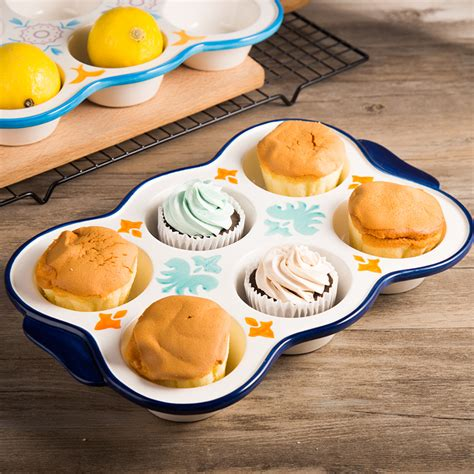Sale Seven Paper Cake De Mould 20cm Bake And Cook 500 Lembar aliexpress buy painted ceramic baking mold six holes baking tools mold muffin cake