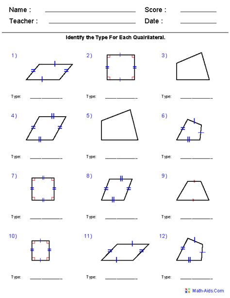 supplement geometry geometry worksheets quadrilaterals and polygons