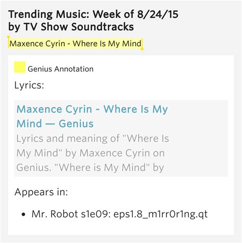 my lyrics meaning maxence cyrin where is my mind trending week of