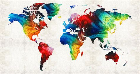 world map 19 colorful by painting by