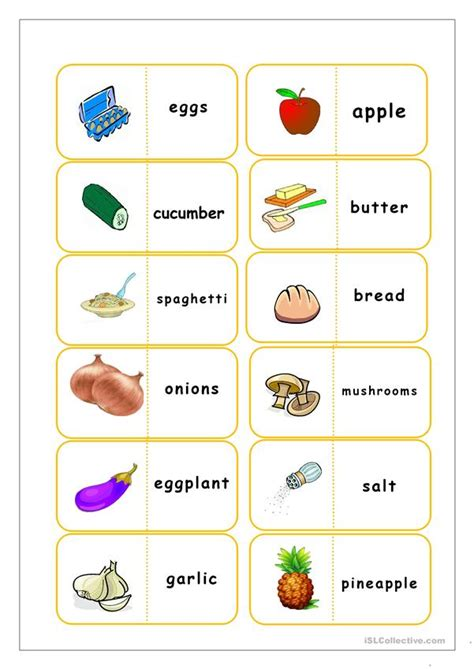 Free Printable Food Flashcards food flashcards worksheet free esl printable worksheets