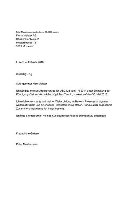 kuendigung vorlage arbeitsvertrag schweiz gratis word vorlage