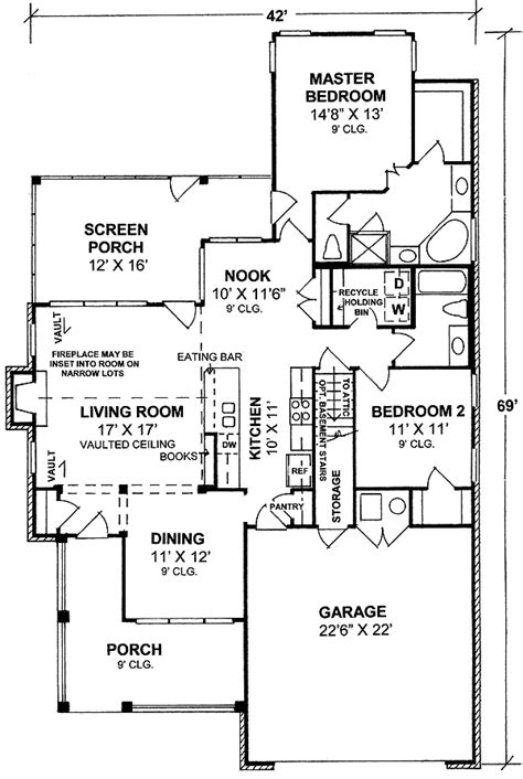1st floor master bedroom house plans 2 bedoom cottage with l shaped porch 40180wm 1st floor