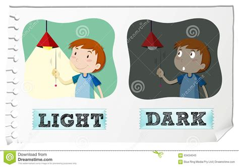 Antonym For Light by Opposite Adjectives Light And Stock Vector Image